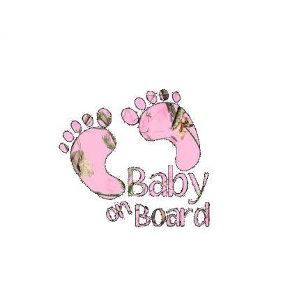 Baby On Board Feet Pink Camo Decal