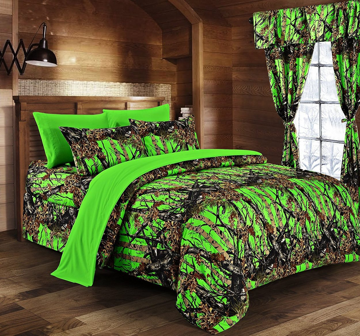 Day Glow Green Camo Bed In A Bag Set